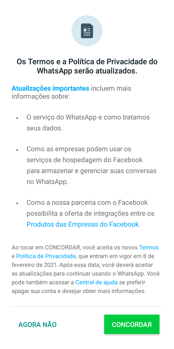 Screenshot da política de privacidade do WhatsApp.