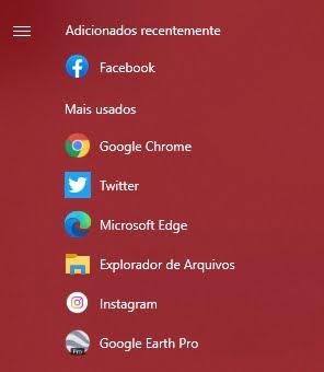Gaveta de apps do Windows do computador deste editor. Adicionados recentemente: Facebook. Mais usados: Google Chrome, Twitter, Microsoft Edge, Explorador de Arquivos, Instagram, Google Earth Pro. Fim da descrição.