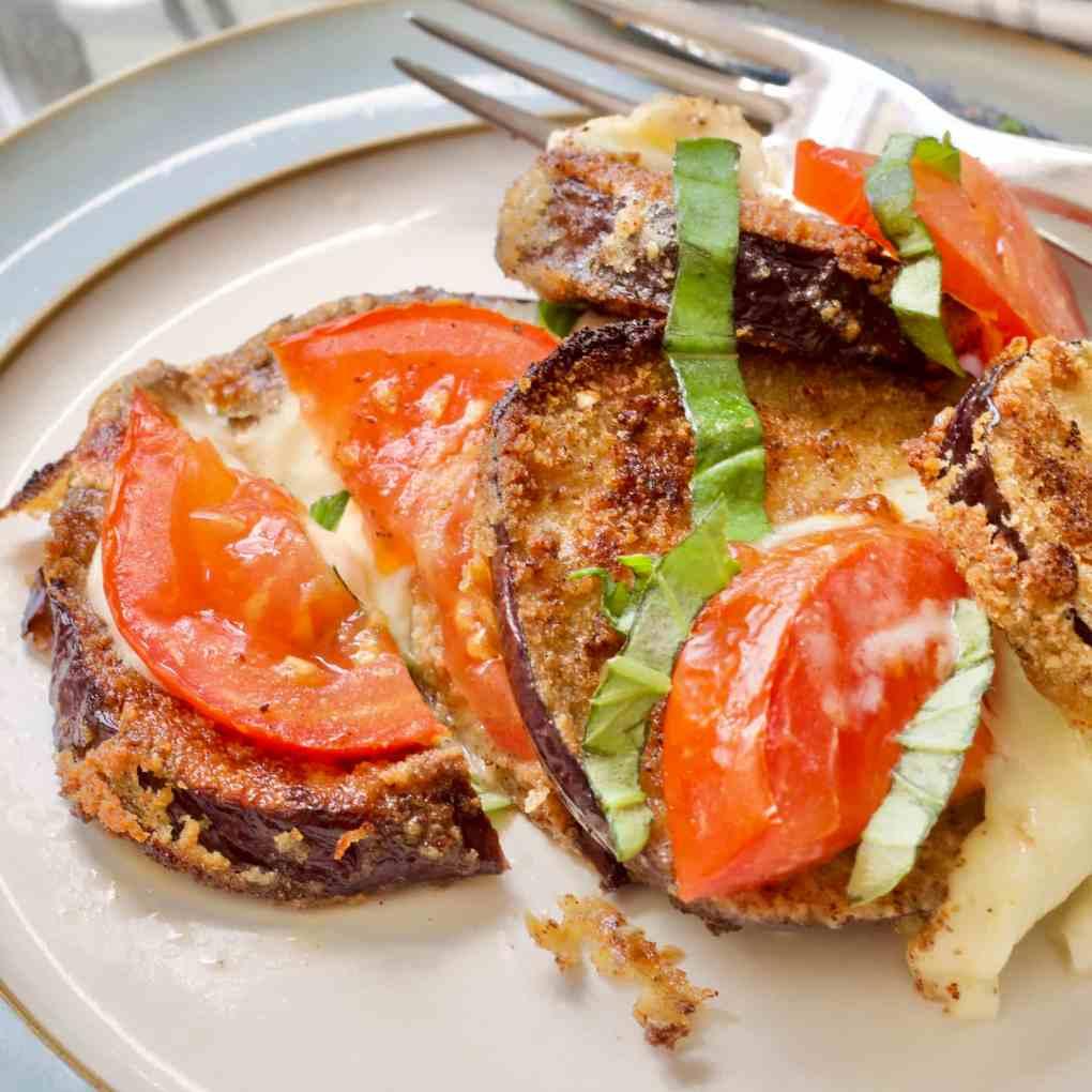 Aubergine, tomato & mozzarella bake