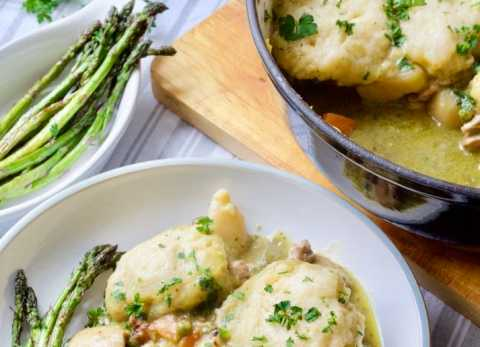 Wild Garlic Pesto Chicken Casserole with Cheesy Dumplings