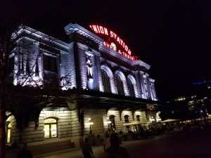 Union Station at night, Denver