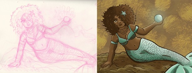 First drawing for the Mermay challenge. This was was the rough drawing to the refined digital painting. Tools used was a wacom tablet and Photoshop.