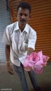 Driver Ranga showing a lotus flower