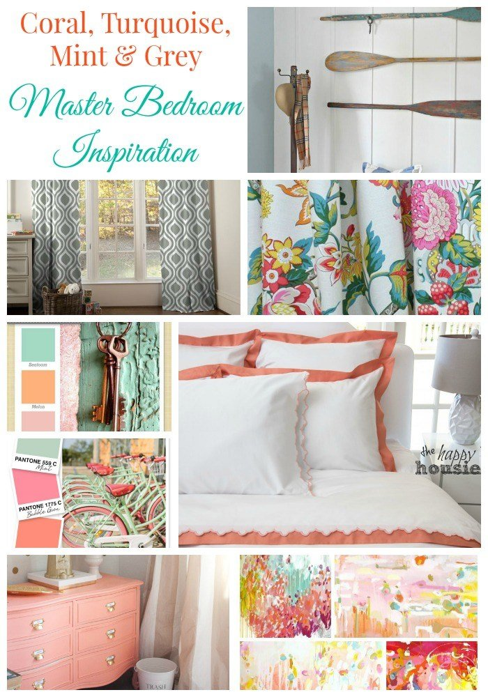 Best Coral Turquoise Mint Grey Master Bedroom Inspiration With Pictures