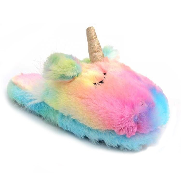 Best Colorful Plush Unicorn Bedroom Slippers Queerks™ With Pictures