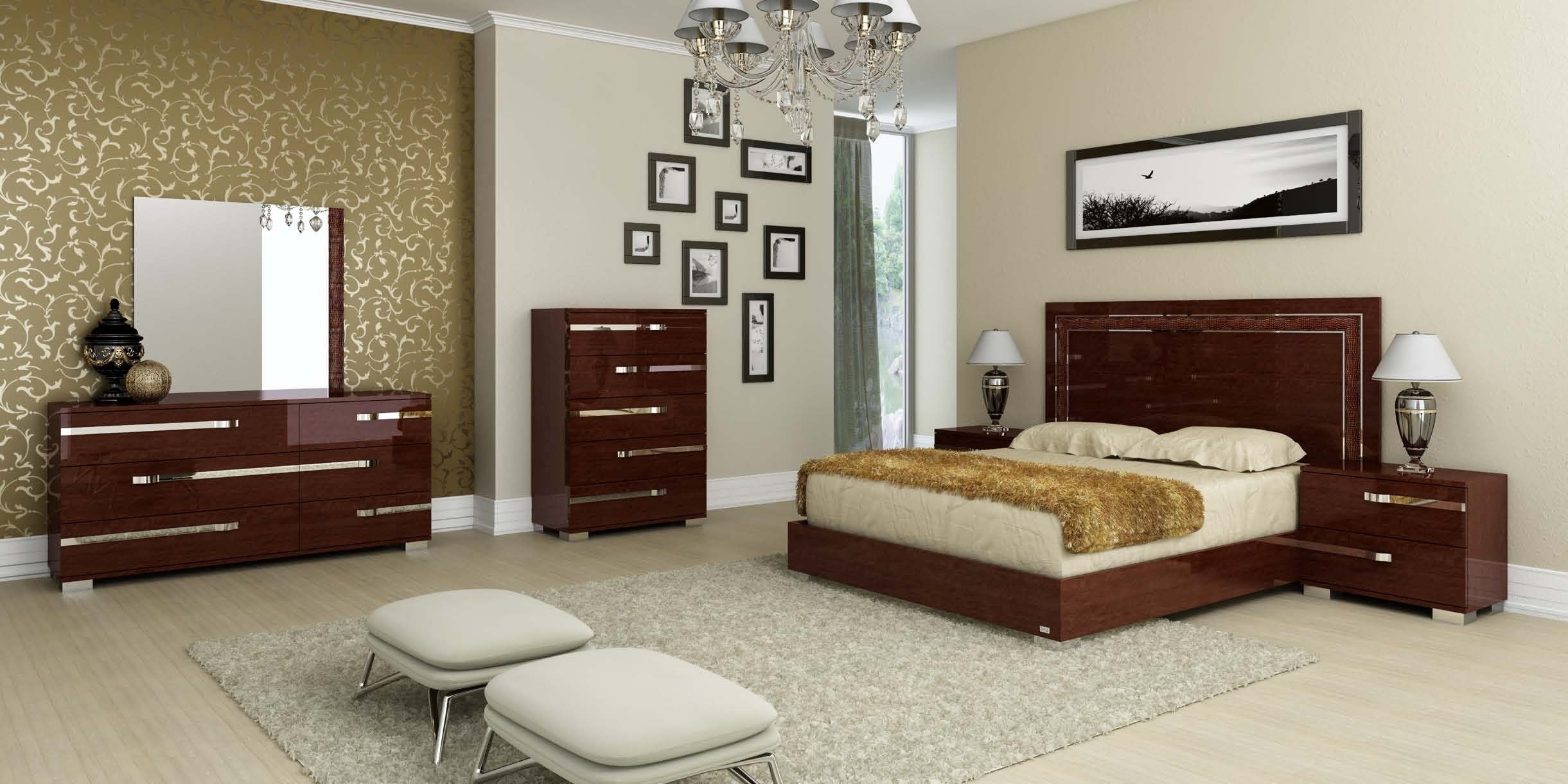 Best Volare Queen Size Modern Walnut Bedroom Set 5Pc Made In With Pictures