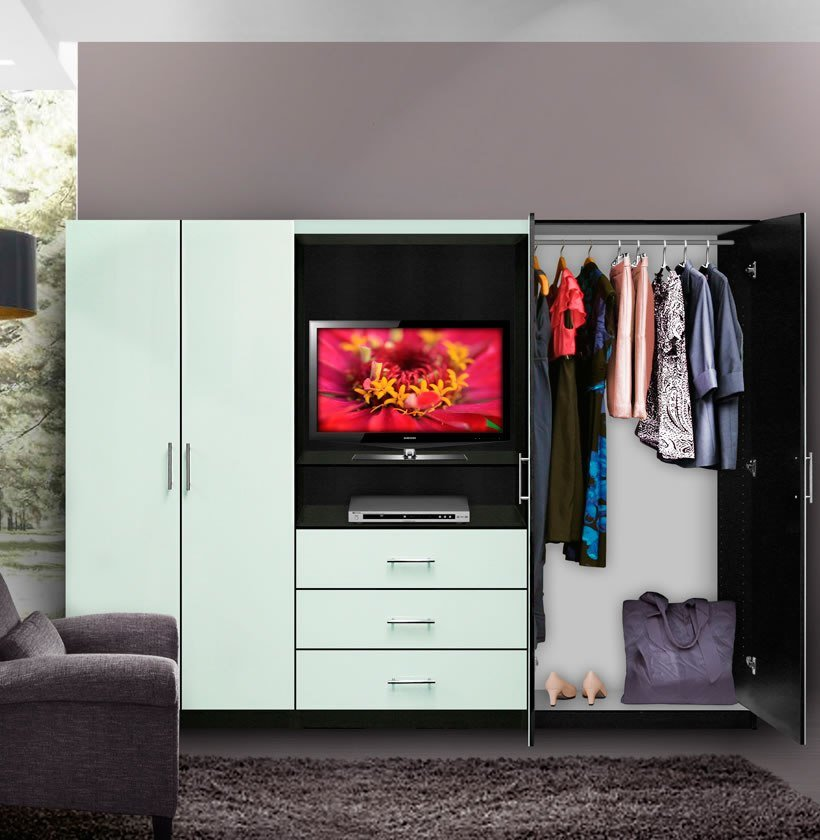 Best Aventa Bedroom Wall Unit Tv Unit W Drawers And Doors Contempo Space With Pictures
