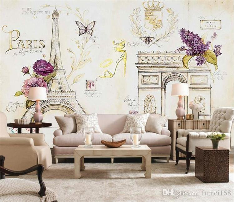 Best Custom Size Photo 3D Paris Iron Tower Eiffel Wallpaper With Pictures