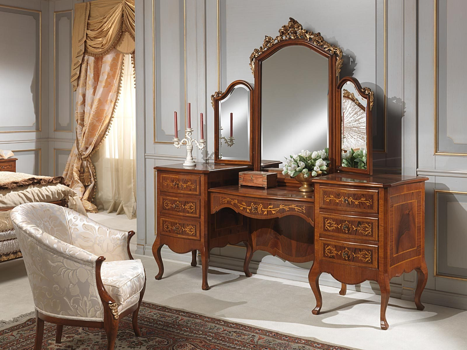 Best Classic Louvre Bedroom Dressing Table With Mirror Vimercati Classic Furniture With Pictures