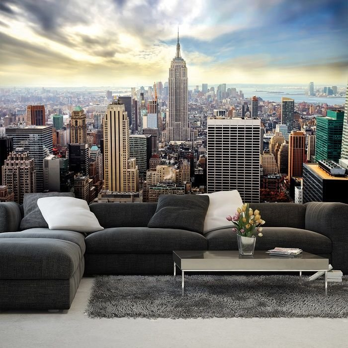 Best New York Blue Skyline Wall Mural Homewallmurals With Pictures