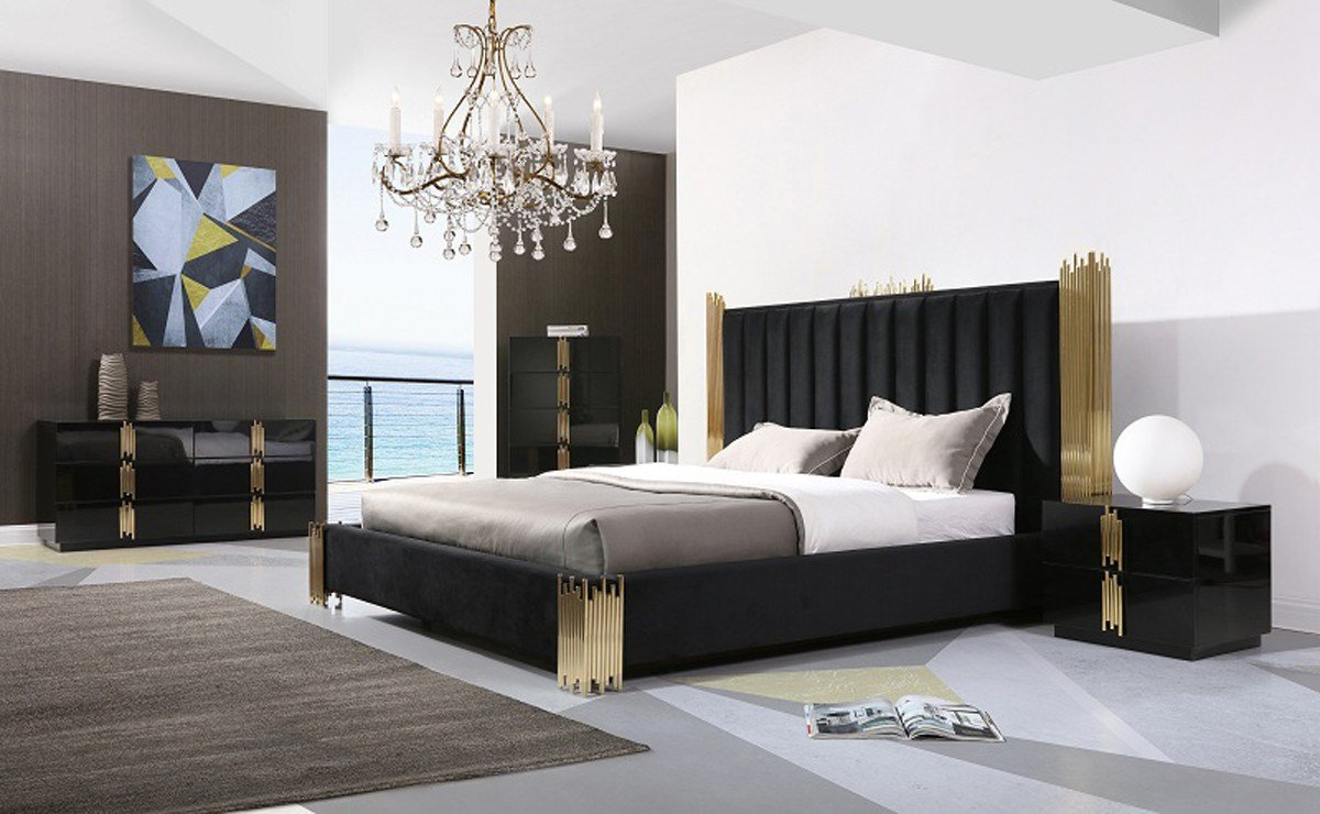 Best Modrest Token Modern Black Gold Bedroom Set With Pictures