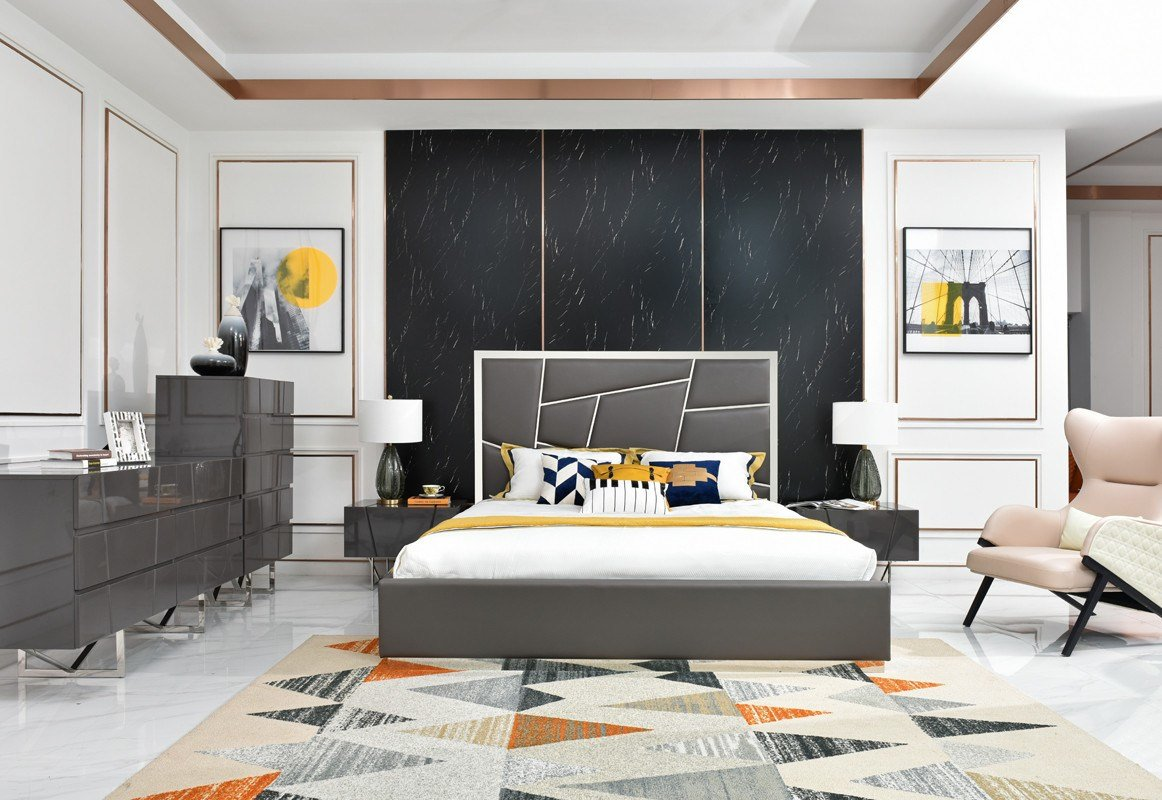 Best Modrest Chrysler Modern Grey Bedroom Set Modern Bedroom With Pictures