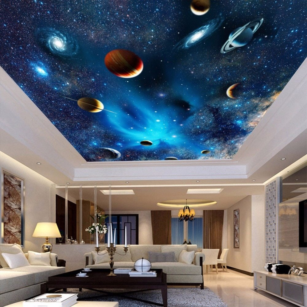 Best Universe Space Planet Night Sky Stars Photo Mural For Kids Bedroom Living Room Ceiling Wall With Pictures