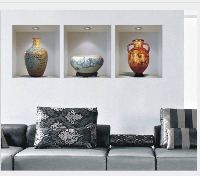 Best 3D Wall Stickers Home Decor Ceramic Vase Wallpaper For With Pictures