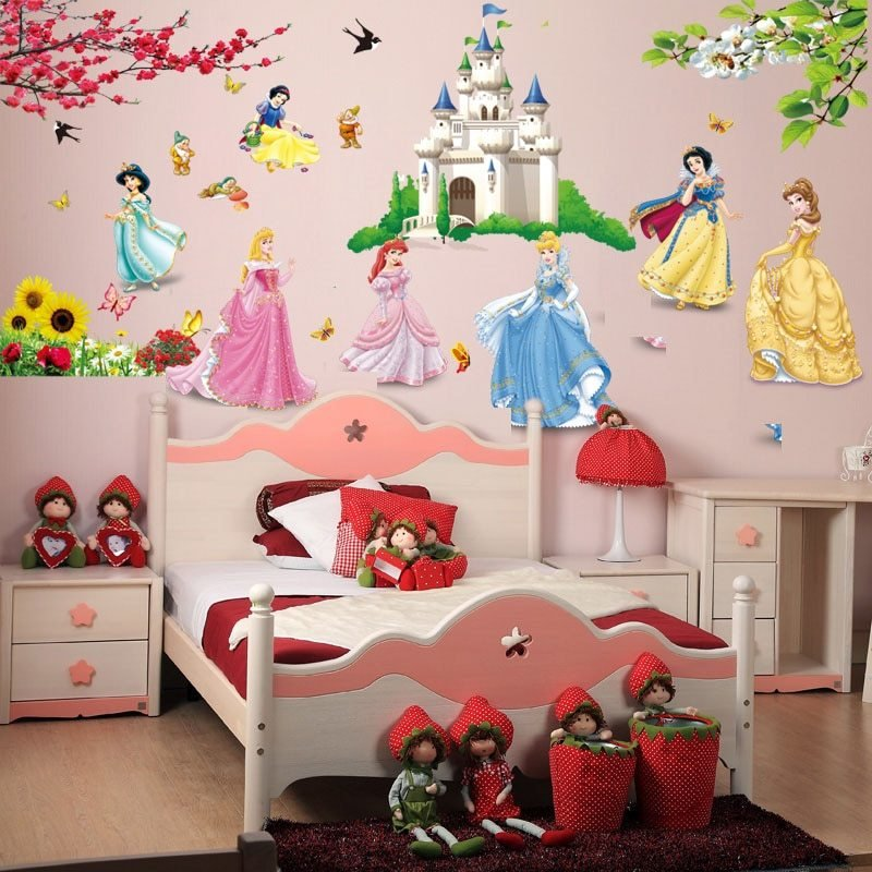 Best Removable Diy Seven Princess Birds Flower Castle Wall Stickers Home Decor 5102 For Kids Rooms With Pictures