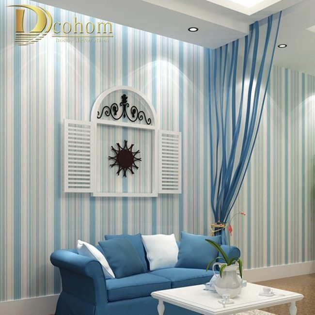 Best Modern Fashion Horizontal White Blue Striped Wallpaper With Pictures