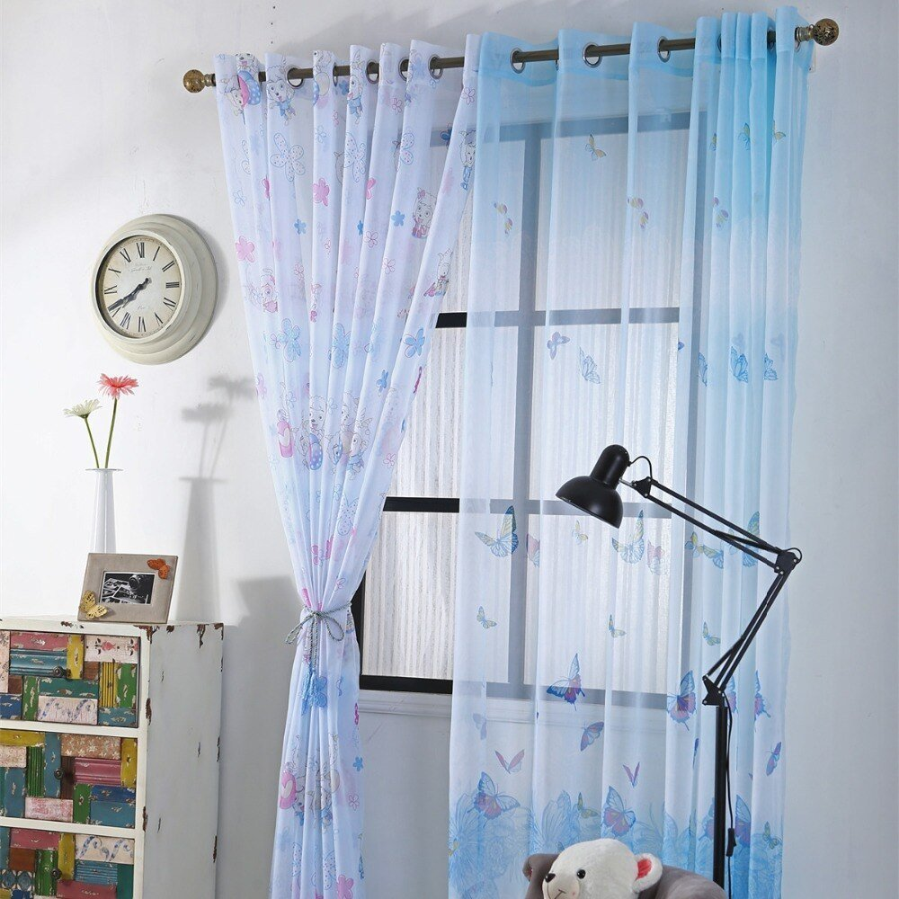 Best Curtians For Children Baby Room Curtains For Kids Boys Cartoon Tulle Bedroom Butterfly Valance With Pictures
