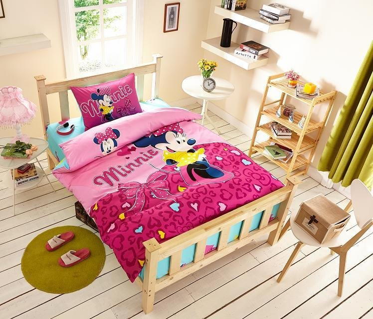 Best Deep Pink Color Minnie Mouse Print Bedding Set For Girls Kids Home Decor Egyptian Cotton Bed With Pictures