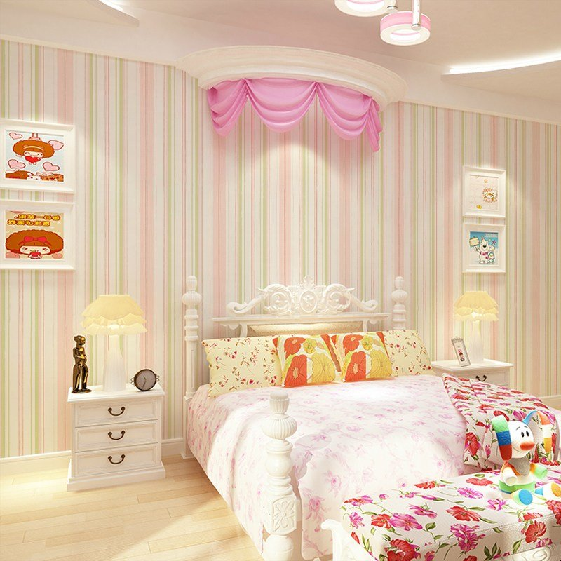 Best Kids Wallpapers Girls Stripes Pink Nonwovens Cartoon Cute With Pictures