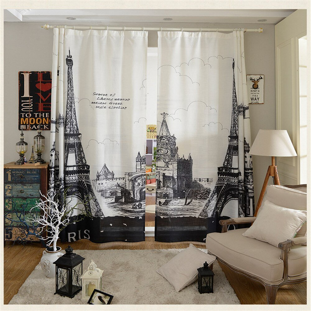 Best Modern Paris Curtain For Living Room Home Decoration 2Pc 1 With Pictures