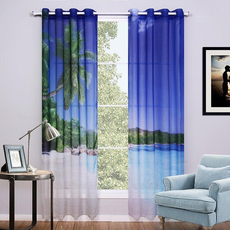 Best Sunnyrain 2 Piece 3D Curtains For Bedroom Window Curtain With Pictures