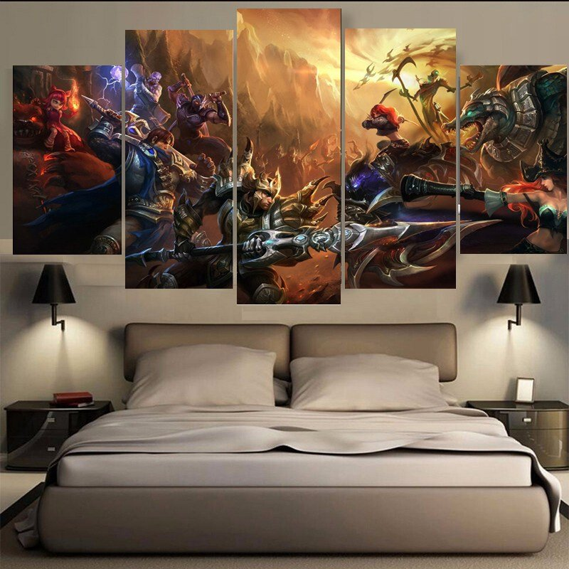 Best 5 Pieces One Set Game Figure Bedroom Painting Wall Art With Pictures