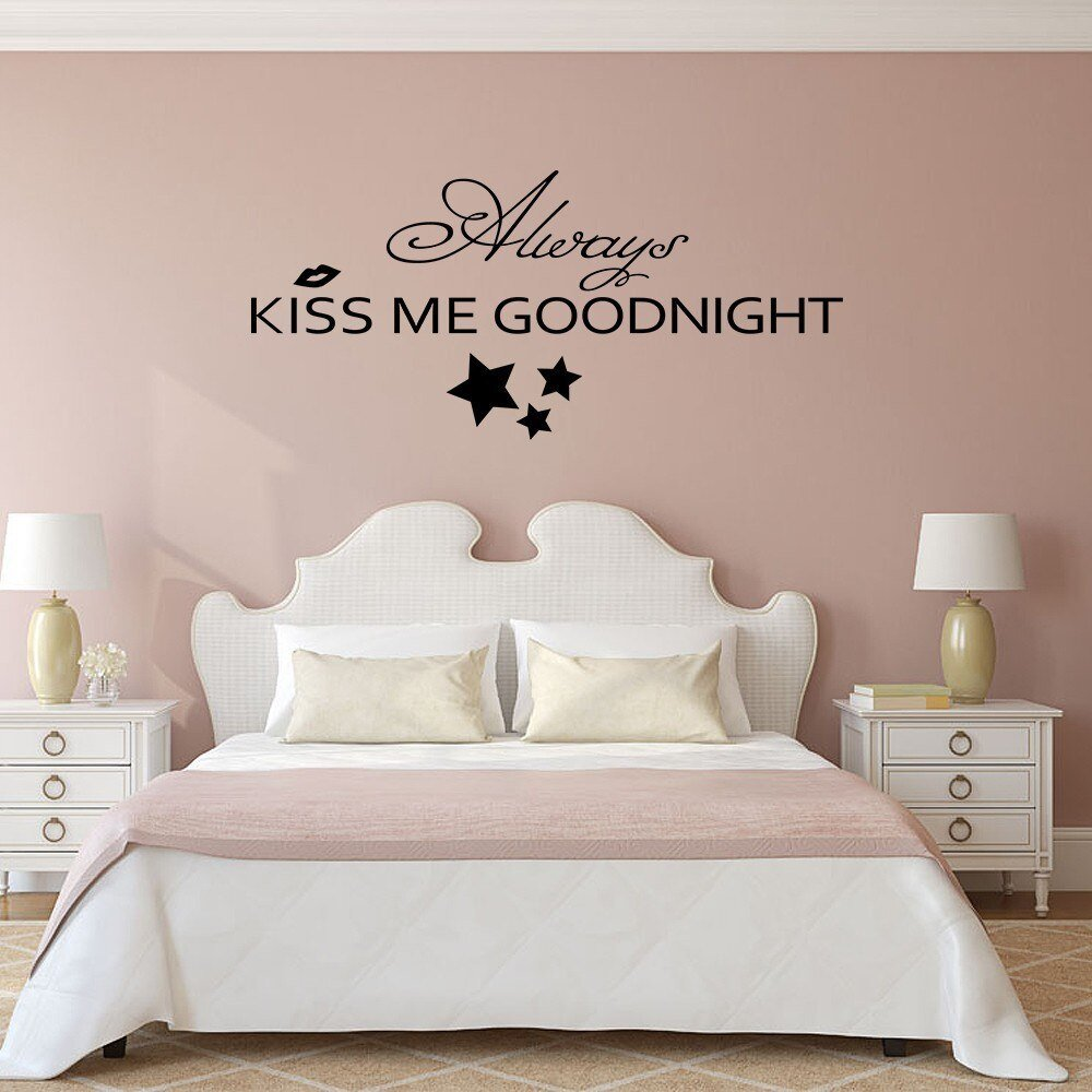 Best Always Kiss Me Goodnight Bedroom Romantic Wall Decal Vinyl With Pictures