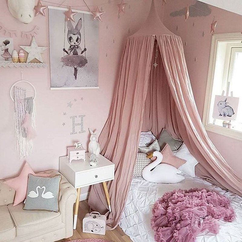 Best White Grey Pink Beige Boys Girls Kids Princess Canopy Bed With Pictures