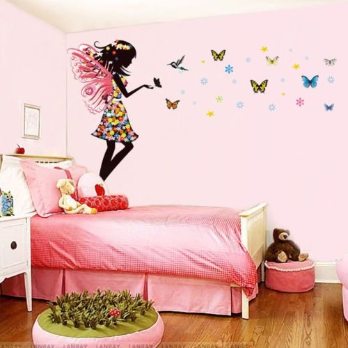 Best Aliexpress Com Buy Fairy Girl Colorful Butterflies Wall With Pictures