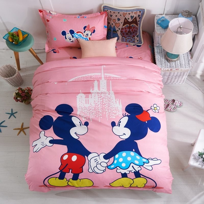 Best Disney Pink Mickey Minnie Mouse Bedding Sets Girls Bedroom Decor 100 Cotton Bedsheet Duvet With Pictures