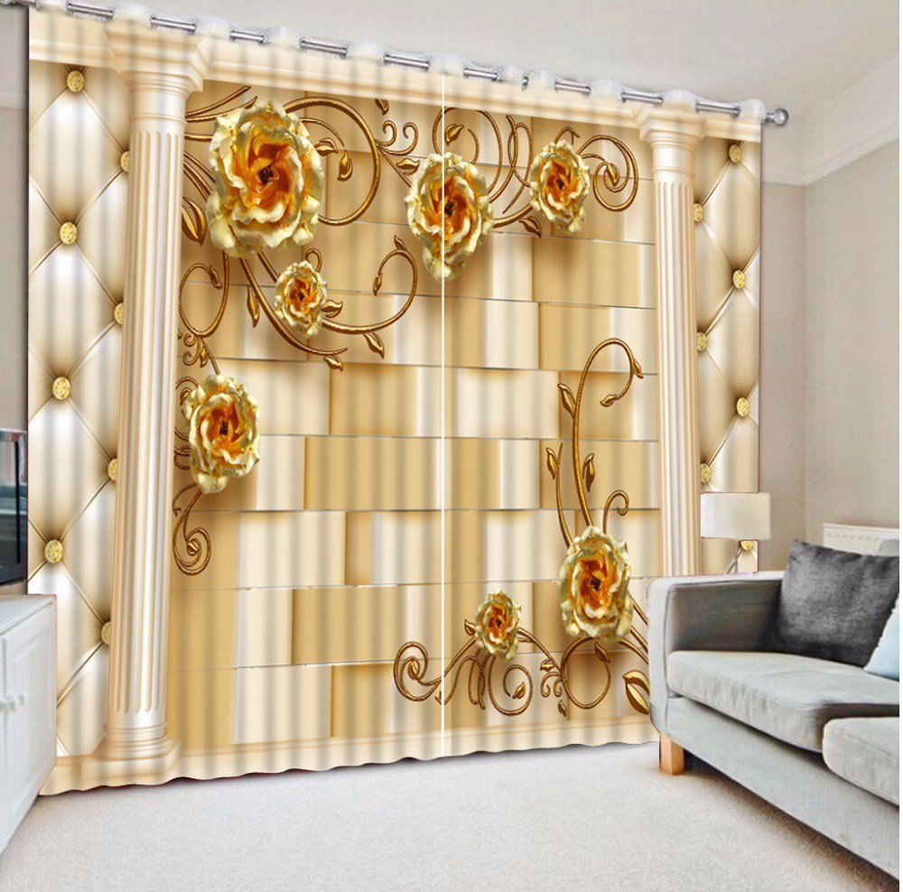 Best Gold Rose Blackout 3D Curtains For Bedroom Living Room With Pictures