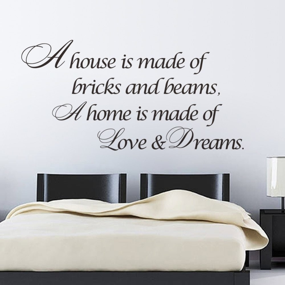Best A Home Is Made Of Love Dreams Quotes Wall Sticker Bedroom Vinyl Wall Decal Home Decoration Home With Pictures