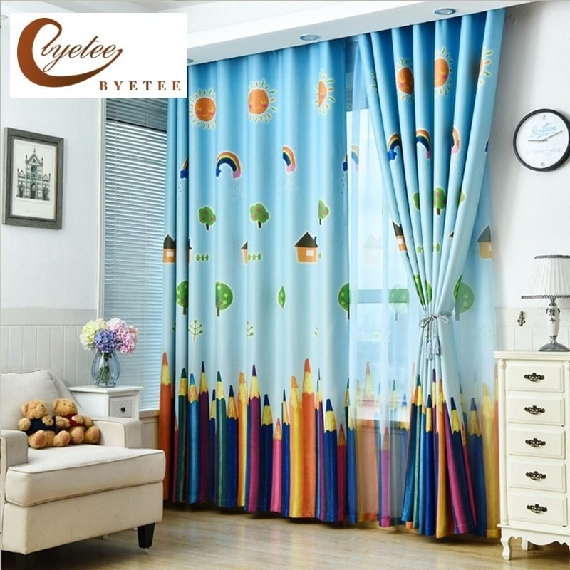 Best Byetee New Curtains Blackout Curtain Fabric Pencil Pattern Boys Girls Kids Room Curtains With Pictures
