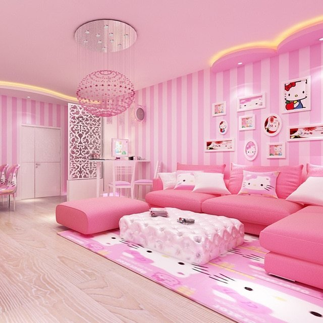 Best Modern Room Wall Papers Home Decor Pink Str*P Wallpaper With Pictures