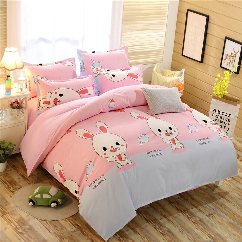Best Home Textile 3 4Pcs Pink Bunny Bedding Sets Rabbit Sheet With Pictures