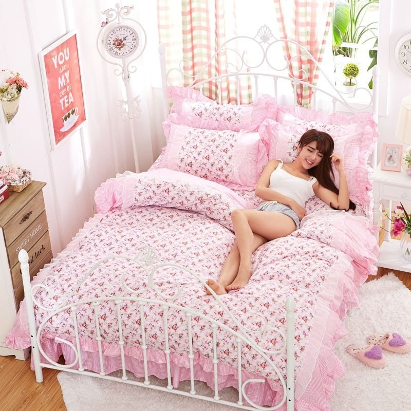 Best Aliexpress Com Buy Luxury White Lace Princess Bedding With Pictures