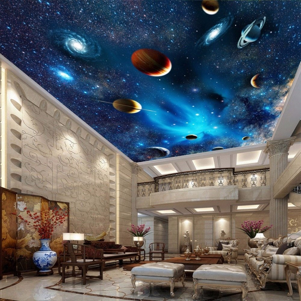 Best Custom Mural Wallpaper 3D Universe Space Star Planet Ceiling Paintings Living Room Bedroom With Pictures
