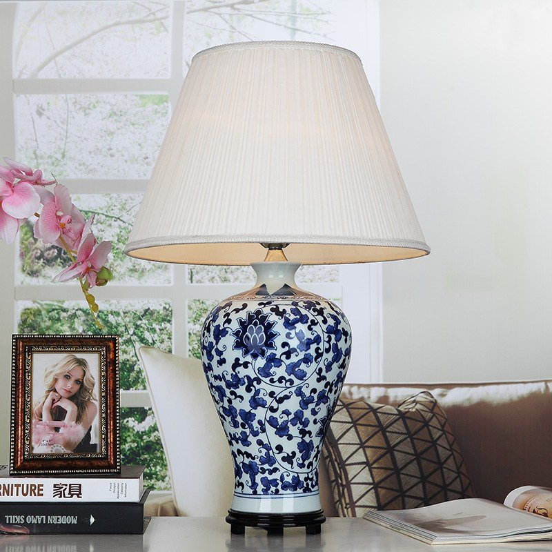 Best Blue Handmade Porcelain Table Lamps Fabric Lampshade Wood Base For Bedroom Living Room Lighting With Pictures