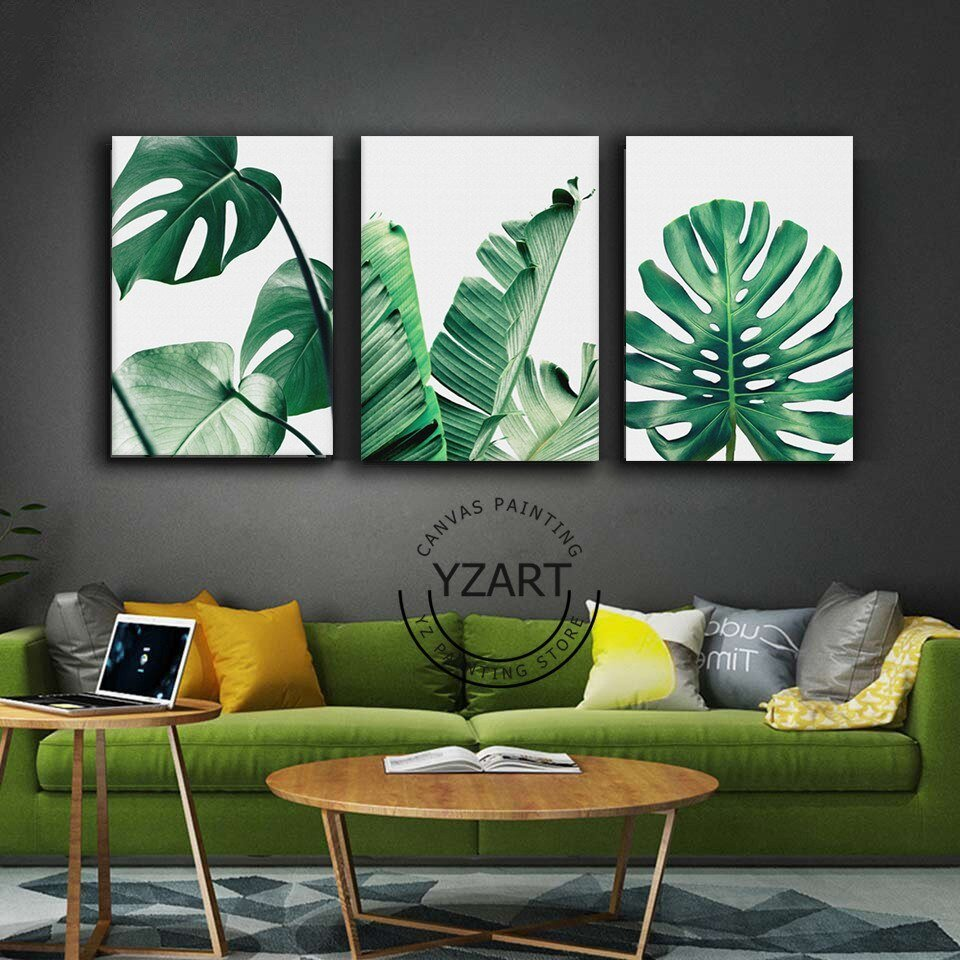 Best Nordic Style Canvas Painting Poster Of Green Leaf Monstera With Pictures