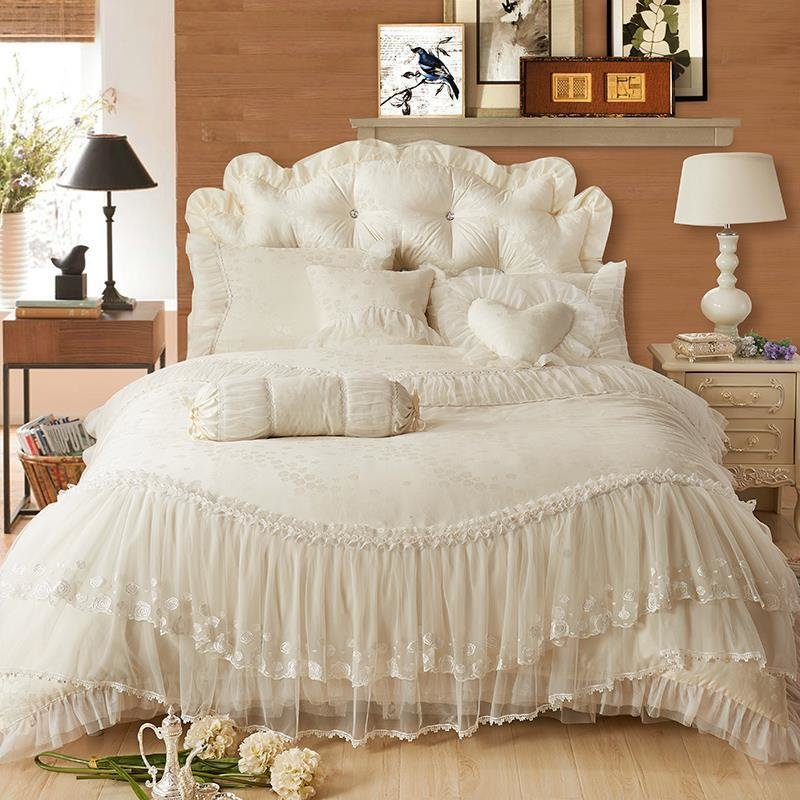Best Luxury Lace Edge Princess Cream Colored Wedding Bedding With Pictures