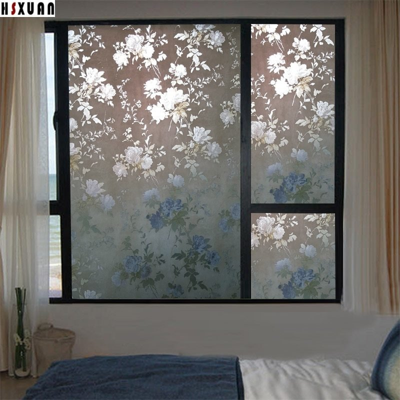 Best Frosted Window Privacy Films 60X100Cm Peony Flower Bedroom With Pictures