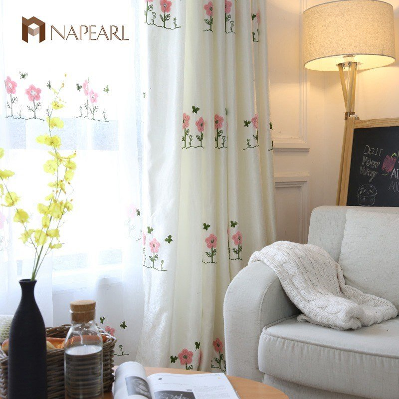 Best Embroidered Pink Curtains Kid Room Girl Bedroom White With Pictures