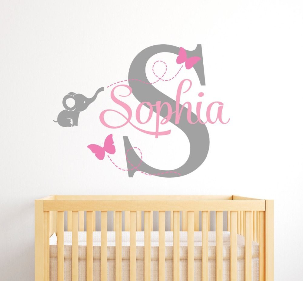 Best Customize Name Elephant Butterfly Wall Stickers For Kids With Pictures