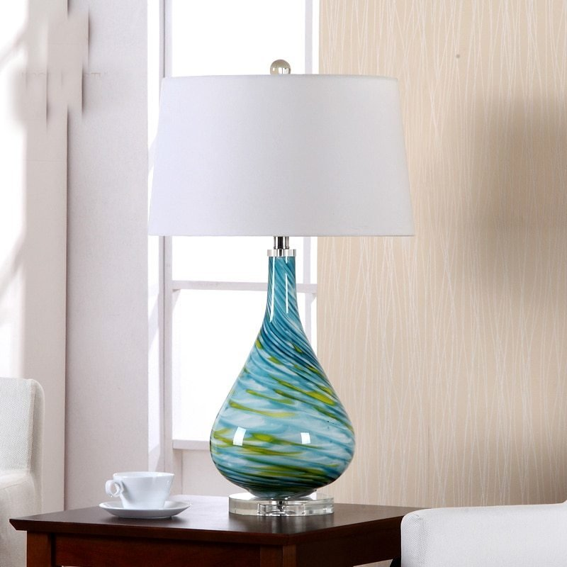 Best Modern Turquoise Spiral Curve Glass Table Lamp With With Pictures