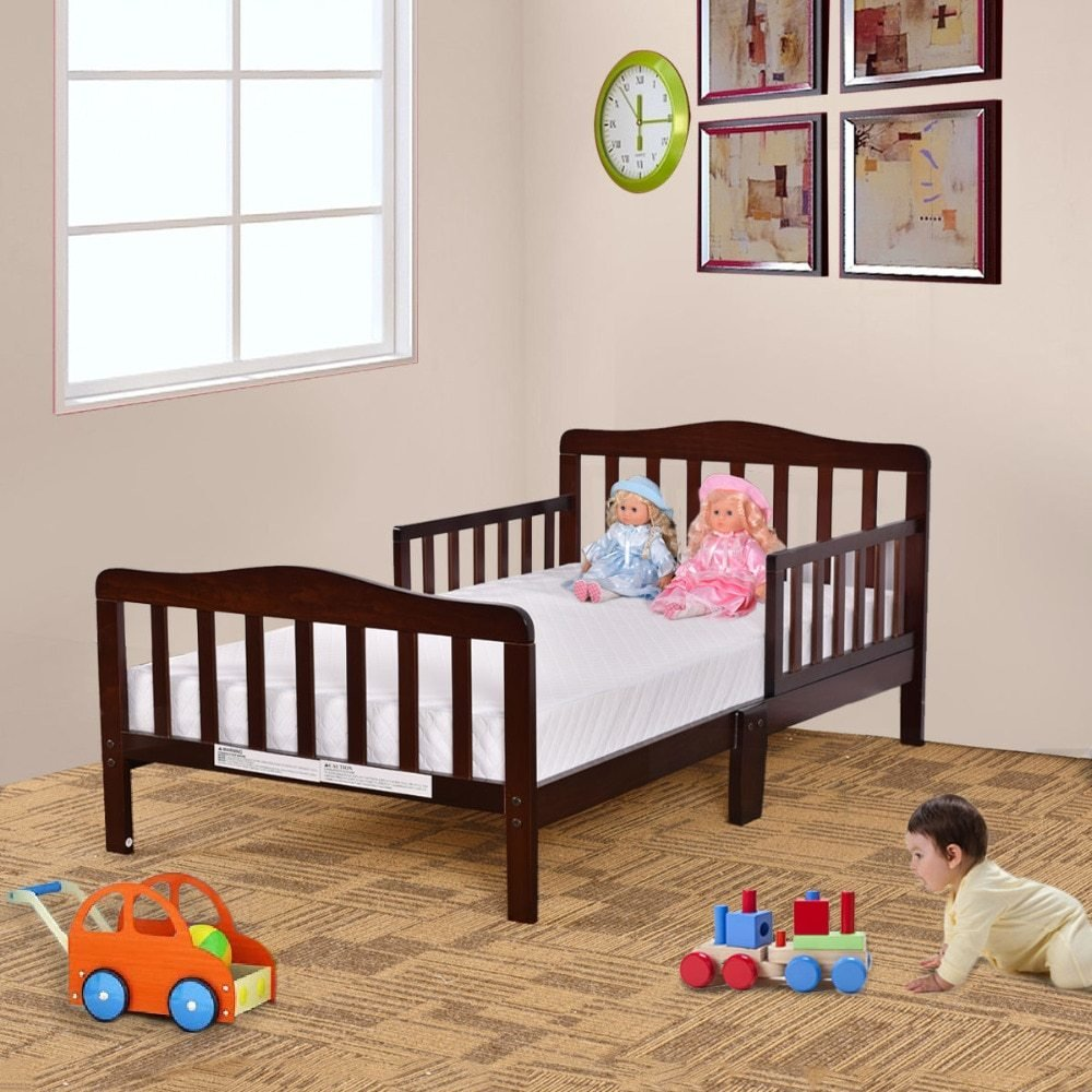 Best Goplus Kids Beds Wood Bedroom Furniture With Safety Rails With Pictures