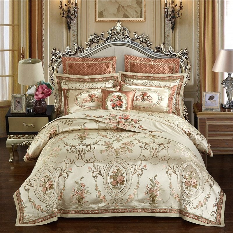 Best Gold Color Europe Luxury Royal Bedding Sets Queen King With Pictures