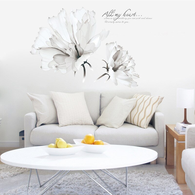Best Two Large White Flowers Wall Stickers Women Salon Bedroom With Pictures