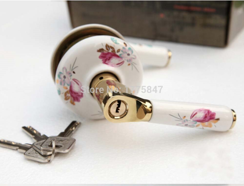 Best New Design Door Lock Ball Handles Bedroom Outside Door Lockset Ceramic European Rural One Pair With Pictures