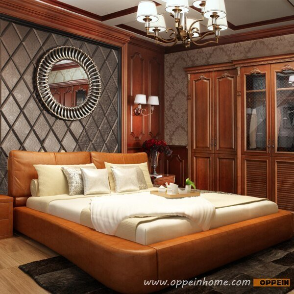 Best Oppein Hot Sell Cherry Wood Bed Soft Bed Double Bed King With Pictures