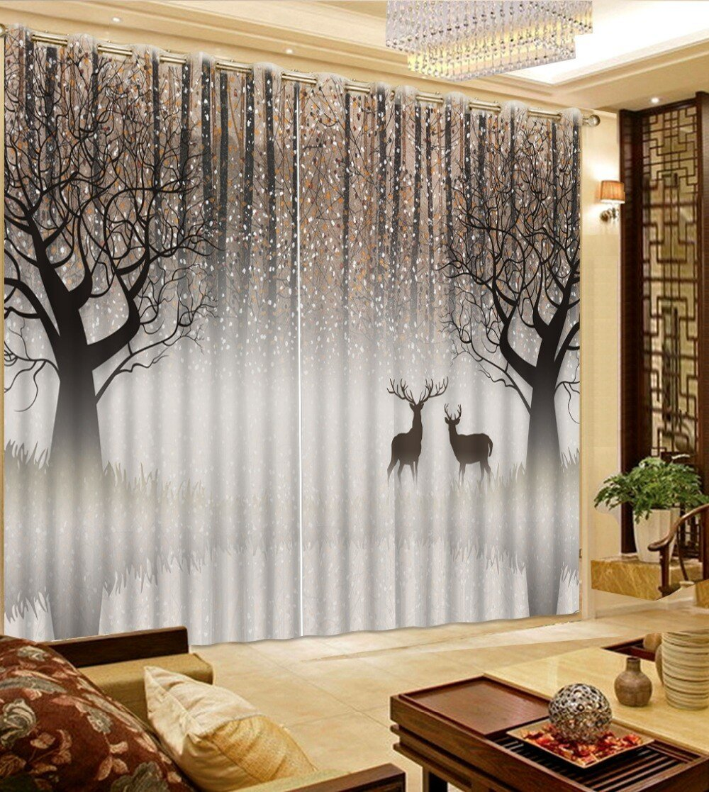 Best Curtains For Window Living Room Abstract Woods Deer Modern With Pictures